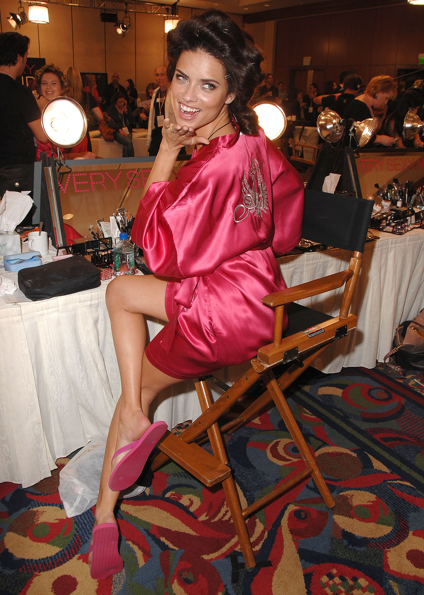 Adriana posed in her makeup stage backstage at the 2007 show.