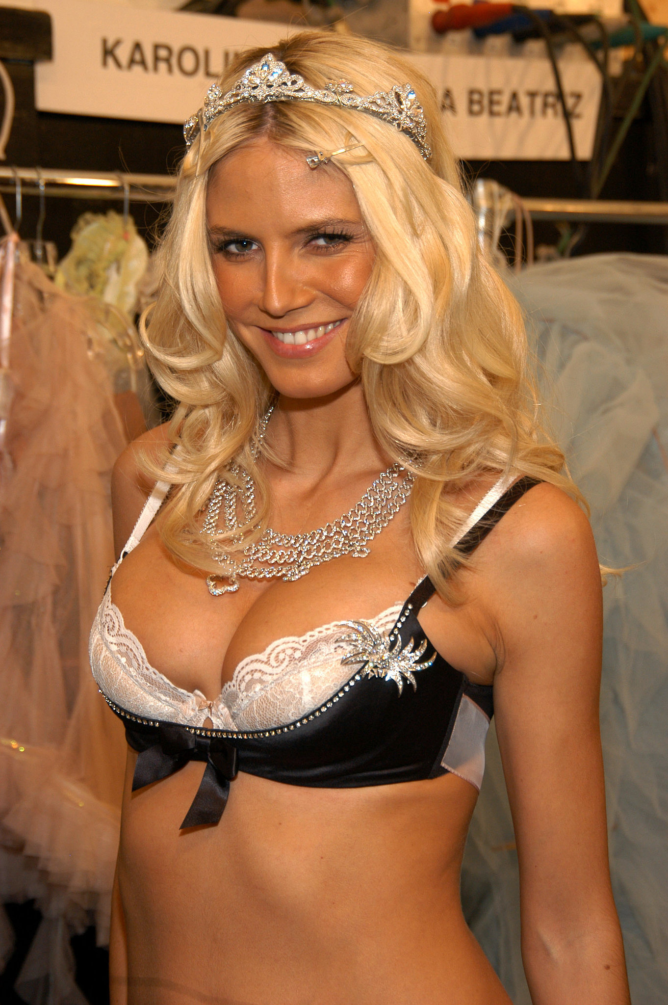 Heidi sported a diamond tiara and Million Dollar Bra in 2003.
