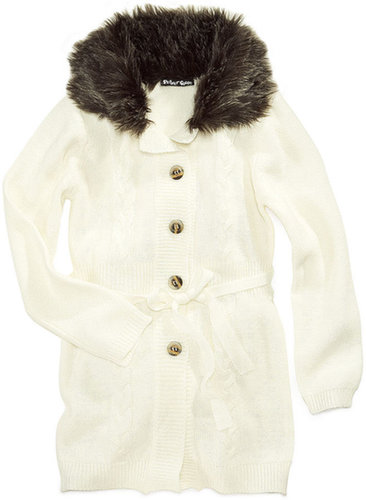 Planet Gold Kids Sweater, Girls Faux-Fur Button-Front Cardigan
