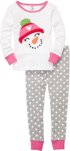 Carter's Kids Pajamas, Toddler Girls 2 Piece Snowman Fitted PJs