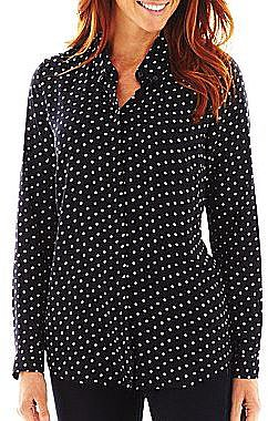 Liz Claiborne Long-Sleeve Button-Front Polka Dot Shirt