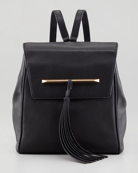 B Brian Atwood Juliette Small Leather Backpack with Tassel ($350)