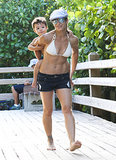Jillian Michaels carried her son, Phoenix Rhoades.