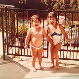 "Kim Kardashian shared this ""bikini babes"" shot of her and sister Kourtney.  Source: Instagram user Kim Kardashian"