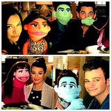 The cast of Glee — Lea Michele, Chris Colfer, Naya Rivera, and newbie Adam Lambert — played with puppets during a day on set. Source: Instagram user msleamichele