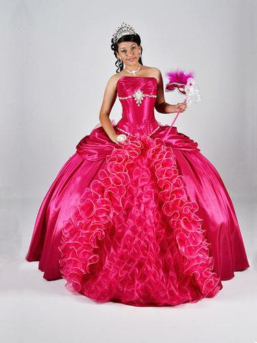 BallGown Strapless Satin Organza Floor-length Fuchsia Beading Quinceanera Dress at sweetquinceaneradress.com