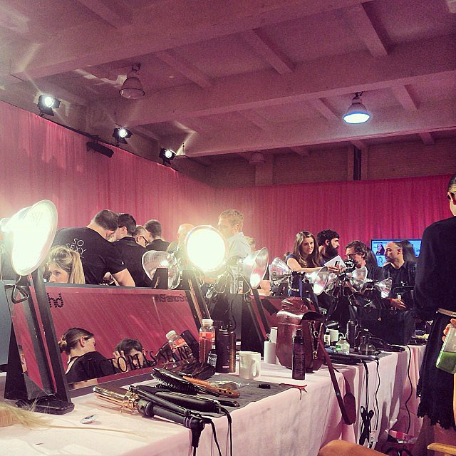 "Model Sigrid Agren posted this snap with the caption: ""Let the backstage craziness begin!"" Source: Instagram user sigridagren"