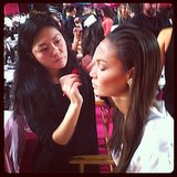 Joan Smalls got runway-ready . . . and look at those cheekbones! Source: Instagram user ellecanada