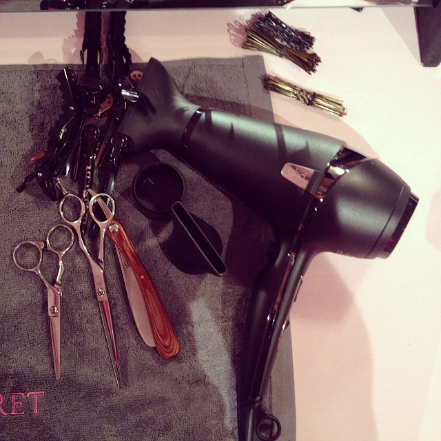 Hairstylist Antonio Gonzales showed off his new GHD Air Professional Performance Hairdryer for prepping the models' flowing manes. Source: Instagram user comesse