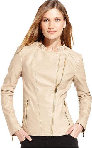 Calvin Klein Jacket, Long-Sleeve Faux-Leather Moto