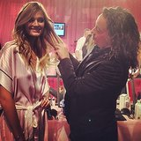 Lead hairstylist Orlando Pita gave Constance Jablonski's hair a touch-up. Source: Instagram user nruggiero