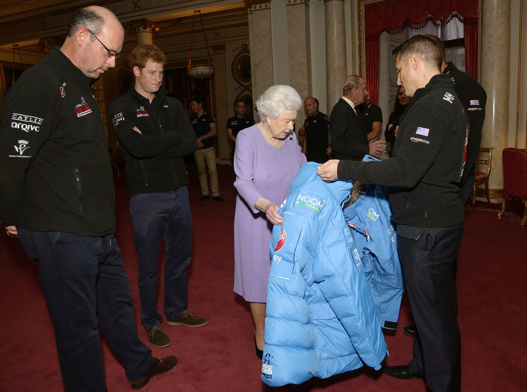 Queen Elizabeth II inspected a coat that Prince Harry would wear on his trek to the South Pole.