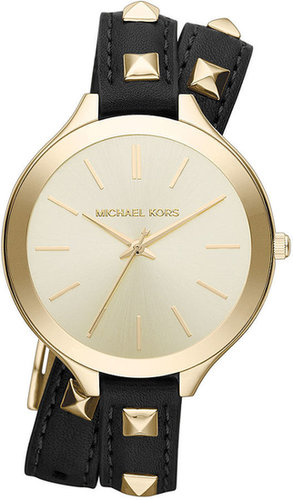 Michael Kors Watch, Women's Slim Runway Gold-Tone Stainless Steel and Black Leather Double Wrap Strap 42mm MK2317