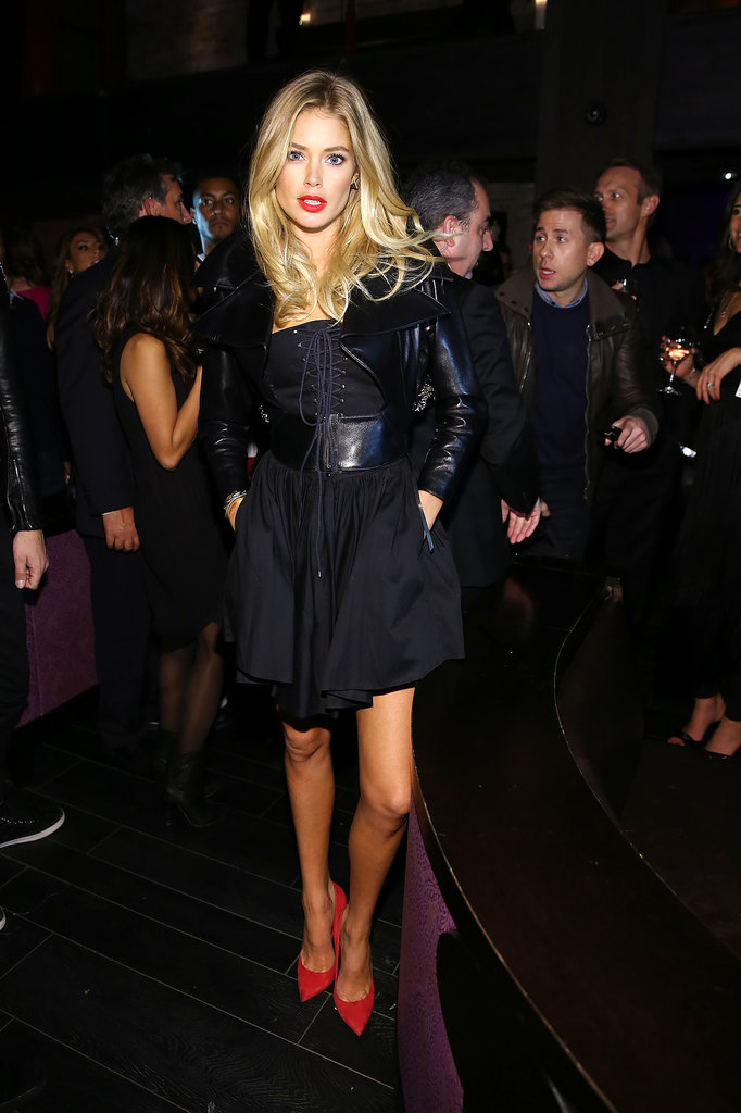 Doutzen Kroes gave a sexy spin to a moto jacket in a black lace-up dress and leather gilet.