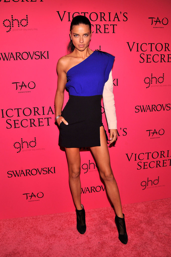 Adriana Lima channeled the '80s in a colorblock minidress with a strong shoulder.