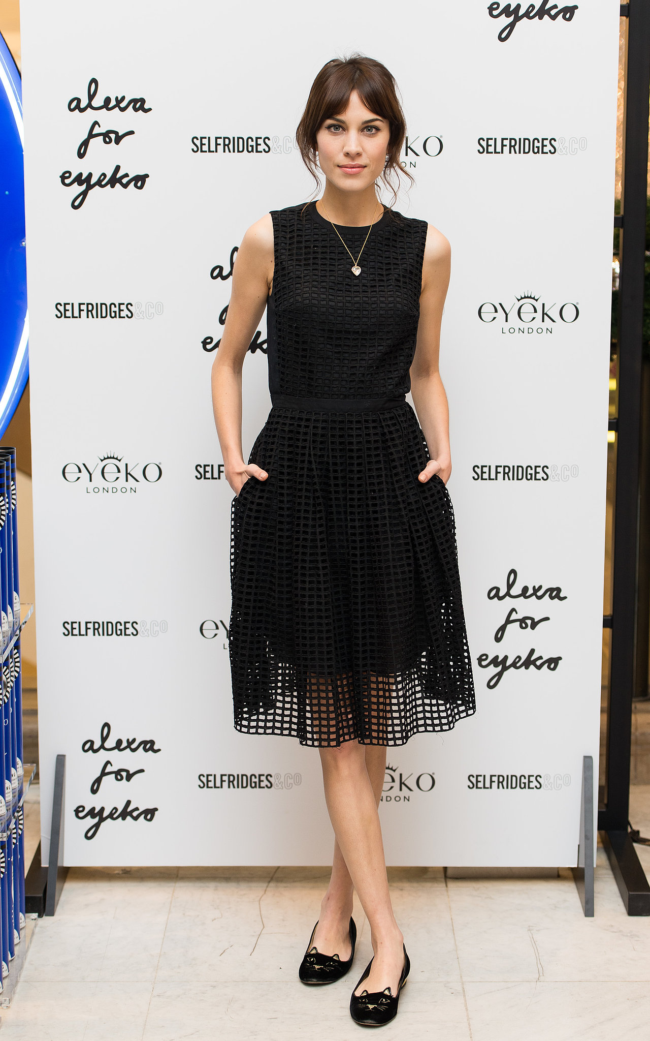Alexa Chung at her makeup collection launch.