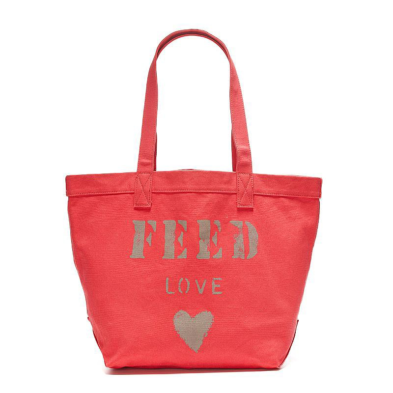 In line with FEED's mission to help provide meals to the hungry, the purchase of this sweet tote ($50) provides 25 meals to people in need.