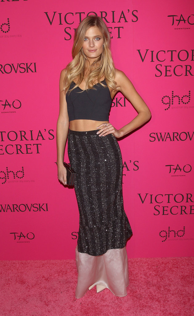 Constance Jablonski hopped on the crop top train in an outfit by Theysken's Theory.