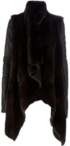 Rick Owens asymmetric fur coat