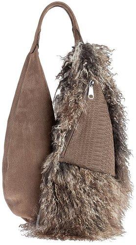 Vbh snakeskin and shearling bag