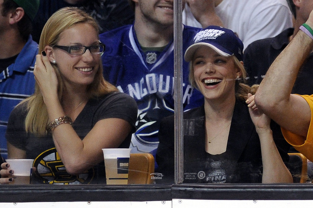 Rachel McAdams laughed with her family while attending a hockey game in June 2011 between the Boston Bruins and the Vancouver Canucks in Boston.