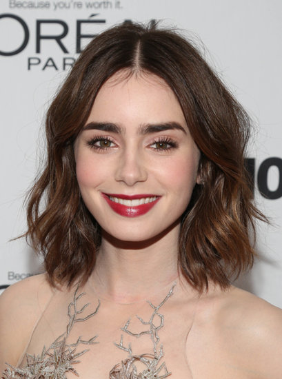 Lily Collins nails every look she tries. We loved her tousled waves and red lips earlier this week.