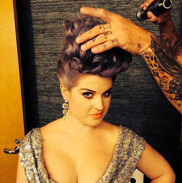 When you're wearing a sparkly dress, only major hair will do. Source: Instagram user kellyosbourne