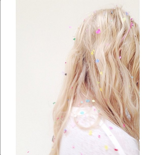 Confetti makes for an awesome hair accessory. Source: Instagram user shopbando