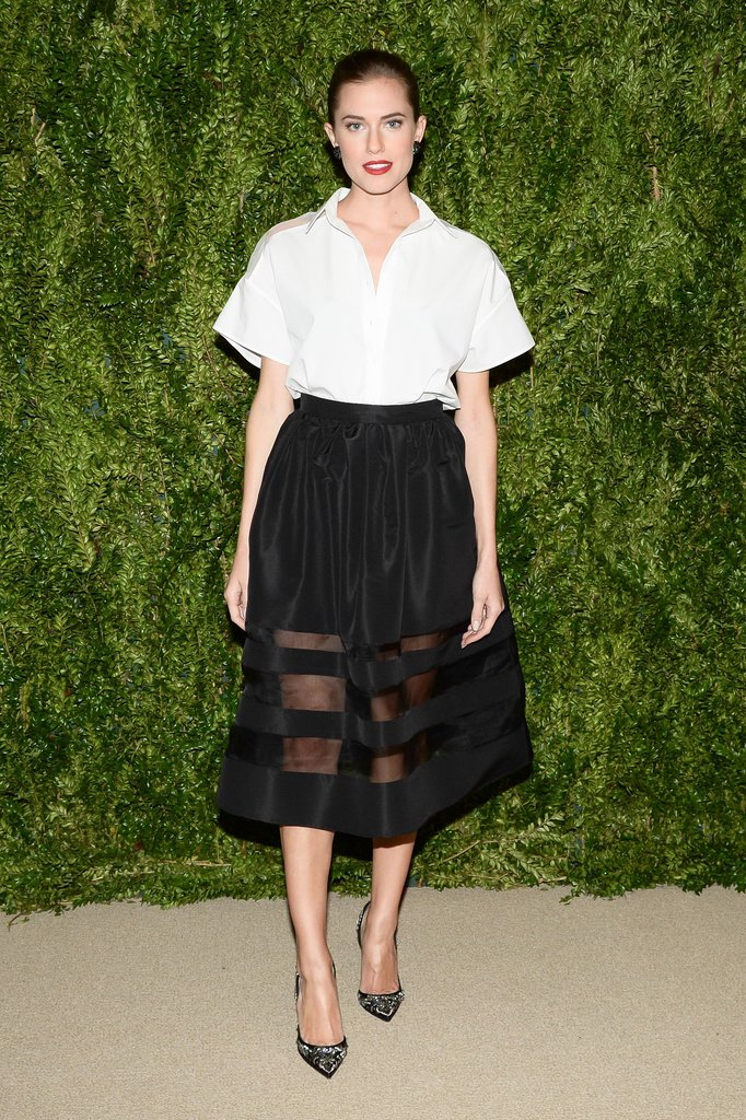 Taking sheer in a much more ladylike direction, Allison Williams feted the CFDA/Vogue Fashion Fund winners while wearing nominee Nonoo's black-and-white separates.