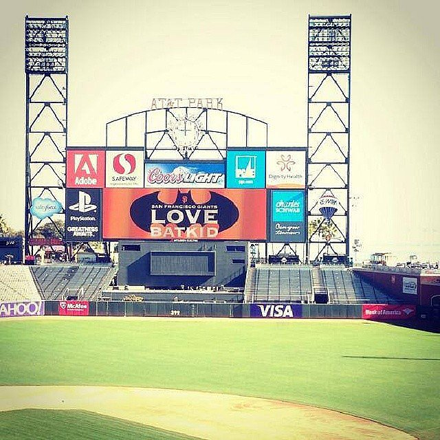 AT&T Park showed some love with a message on the Jumbotron. Source: Instagram user alma_maketha