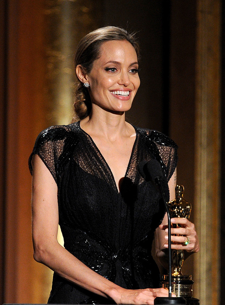 Angelina Accepts an Honorary Oscar With Brad by Her Side