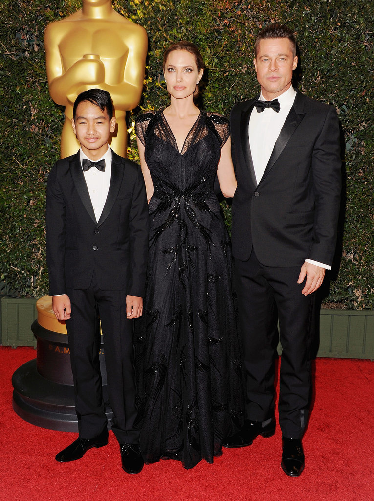 Angelina Jolie was joined by Brad Pitt and Maddox Jolie-Pitt as she accepted the Jean Hersholt Humanitarian Award in LA on Saturday.