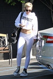 Miley went monochrome donning this Dimepiece sweatshirt ($49, originally $71) with coordinating leggings while leaving an LA music studio in June.