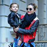Miranda Kerr and Flynn Bloom in Matching Leather Jackets