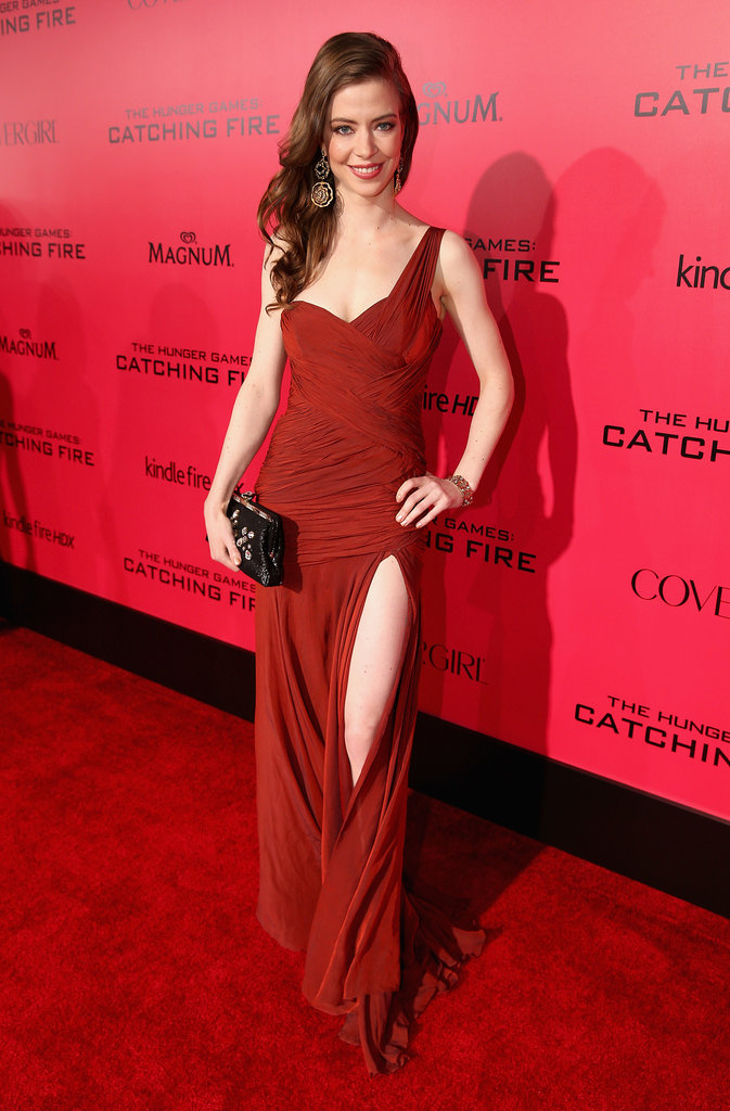 Elena Sanchez wore a deep red gown.