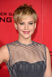 Her pixie cut had a slightly ruffled appearance on the LA red carpet, but Jennifer Lawrence was still supersleek in her berry lip stain and simple smoky eye.