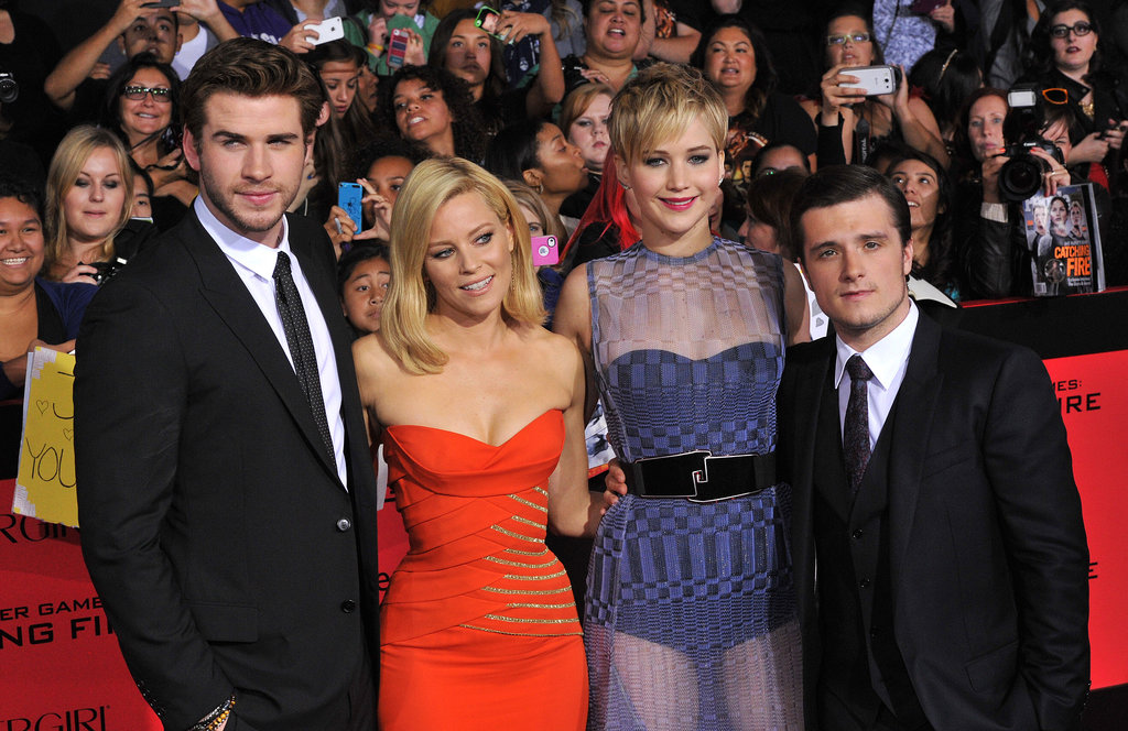 Elizabeth Banks, Josh Hutcherson, Liam Hemsworth, and Jennifer Lawrence made a good-looking bunch.