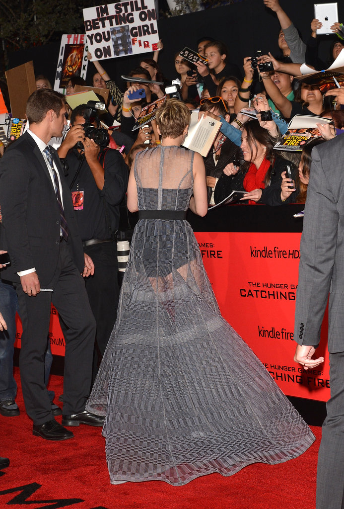 Jennifer Lawrence met with fans at the premiere.