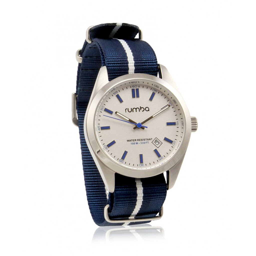 The sporty stripe on the band of this RumbaTime watch ($95) makes it a perfect weekend essential.