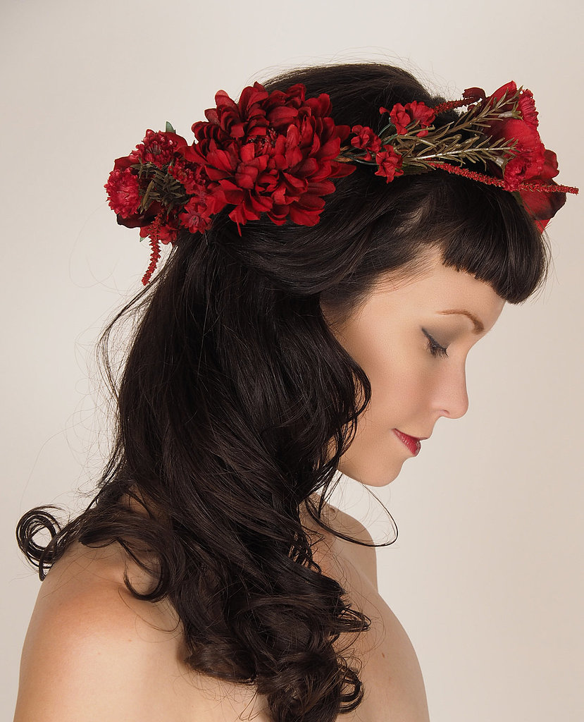 A gorgeous crimson flower crown ($94) is a beautiful way to add some pizazz to your holiday hairdo.