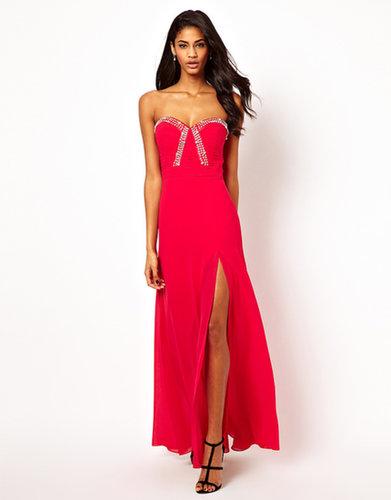 Lipsy VIP Jewel Bodice Maxi Dress with Thigh Split