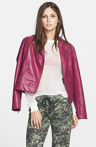 Mural Quilted Shoulder Faux Leather Moto Jacket