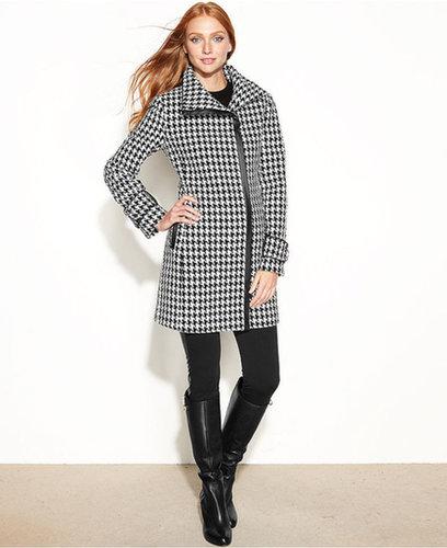 Calvin Klein Petite Asymmetrical Faux-Leather-Trim Coat