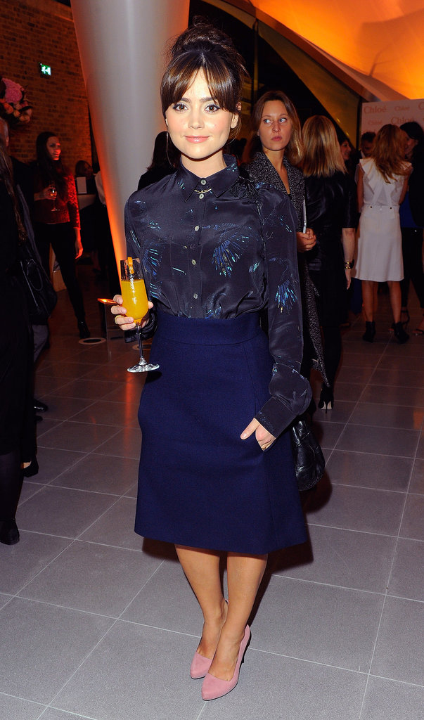 Some pink shoes came out with a midi skirt and printed blouse for a party in October 2013 hosted by Chloé.