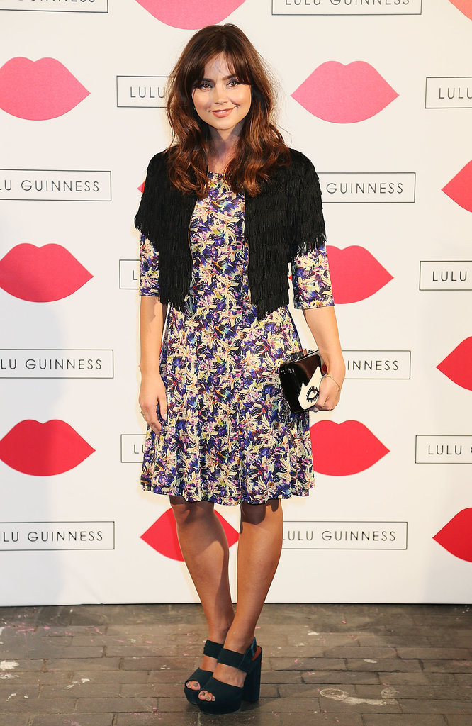 Layering up for a party hosted by Lulu Guinness, Jenna matched a pretty floral dress with fringed jacket and sandals, plus (of course) a bag from Lulu Guinness.