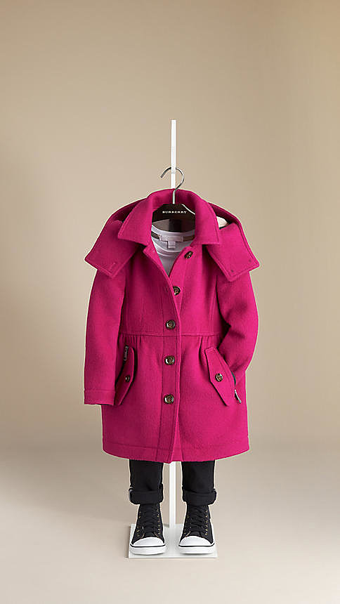 Burberry Hooded Double-Faced Wool Trench Coat