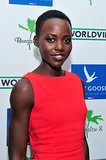 Lupita wore her blue eyeshadow with a tomato red frock at the 2013 Toronto International Film Festival.