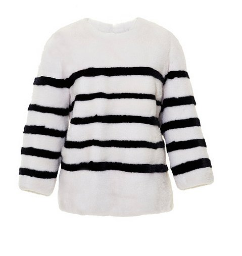 Take an addiction to striped shirts to the next level. Kule does an ultraglam pullover in striped mink ($6,200).