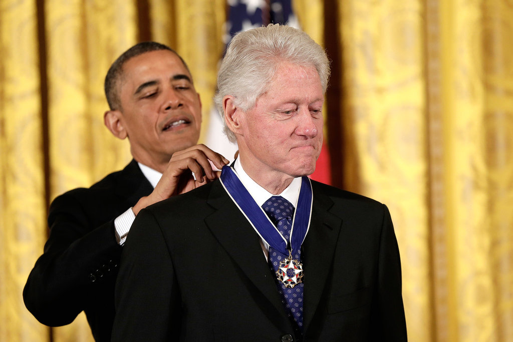 President Obama awarded former President Bill Clinton at the ceremony.