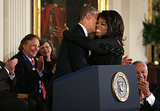 Oprah Winfrey was all smiles while accepting her award from President Obama.